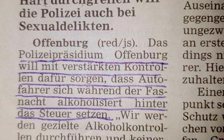 In Offenburg hat die Polizei noch ein Herz für Narren.  - Dank an Andrei  Barkmann